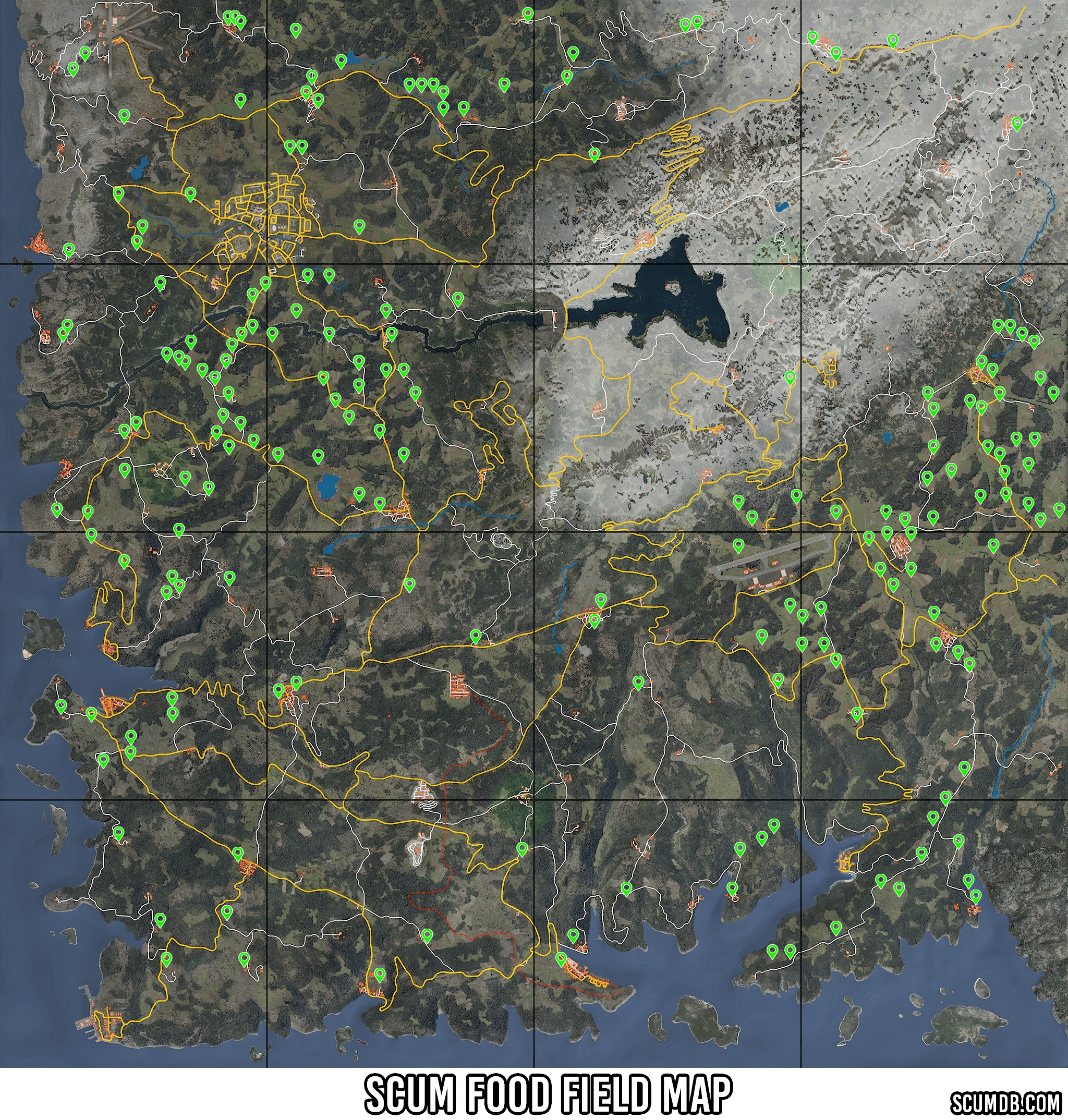 Scum Food Field Locations Map