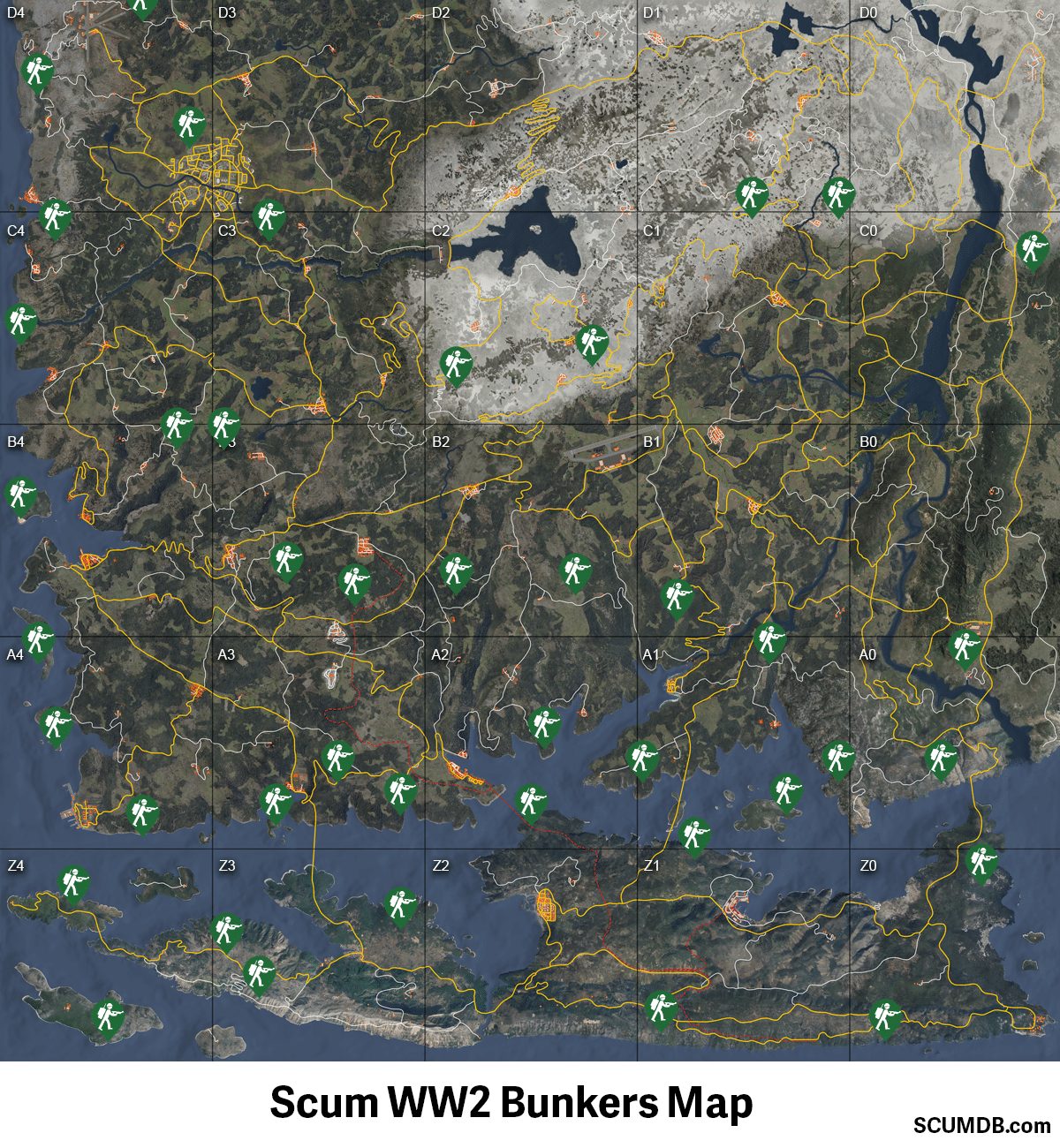 Scum WW2 Bunkers Locations Map